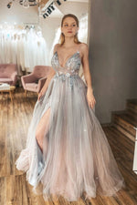 Unique v neck tulle lace beads long prom dress tulle formal dress