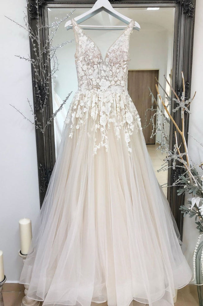 Champagne tulle v neck lace long prom dress champagne formal dress