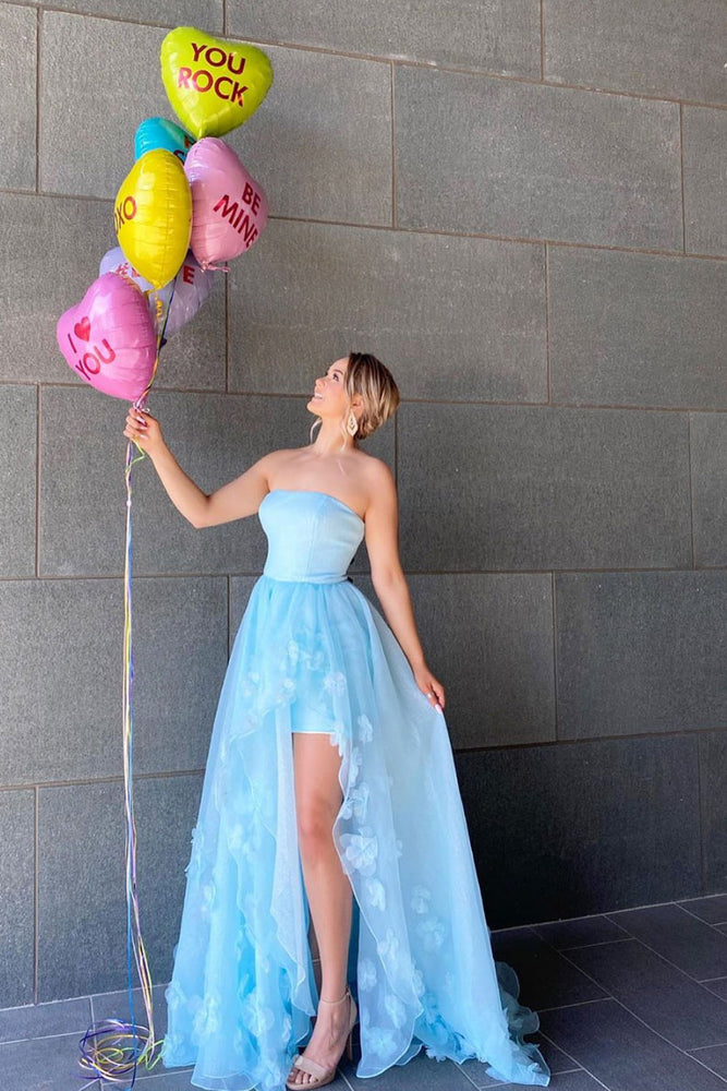 Blue tulle long prom dress blue tulle evening dress