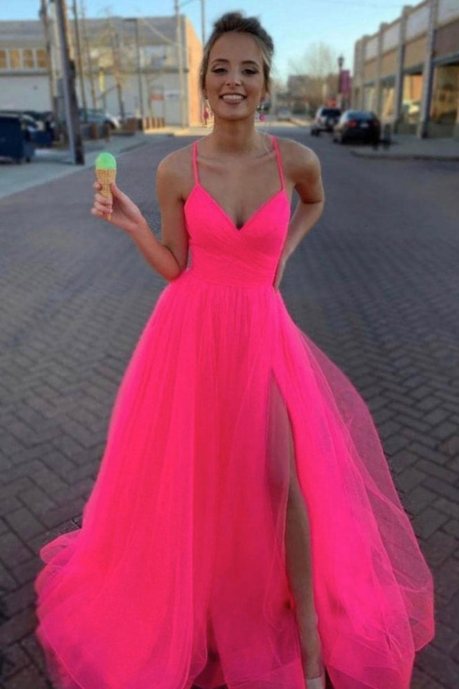 Simple pink v neck tulle long prom dress pink tulle evening dress