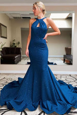 Blue mermaid long evening dress blue prom dress