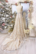 Champagne v neck lace long prom dress champagne evening dress