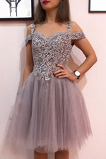 Cute sweetheart tulle lace short prom dress tulle cocktail dress