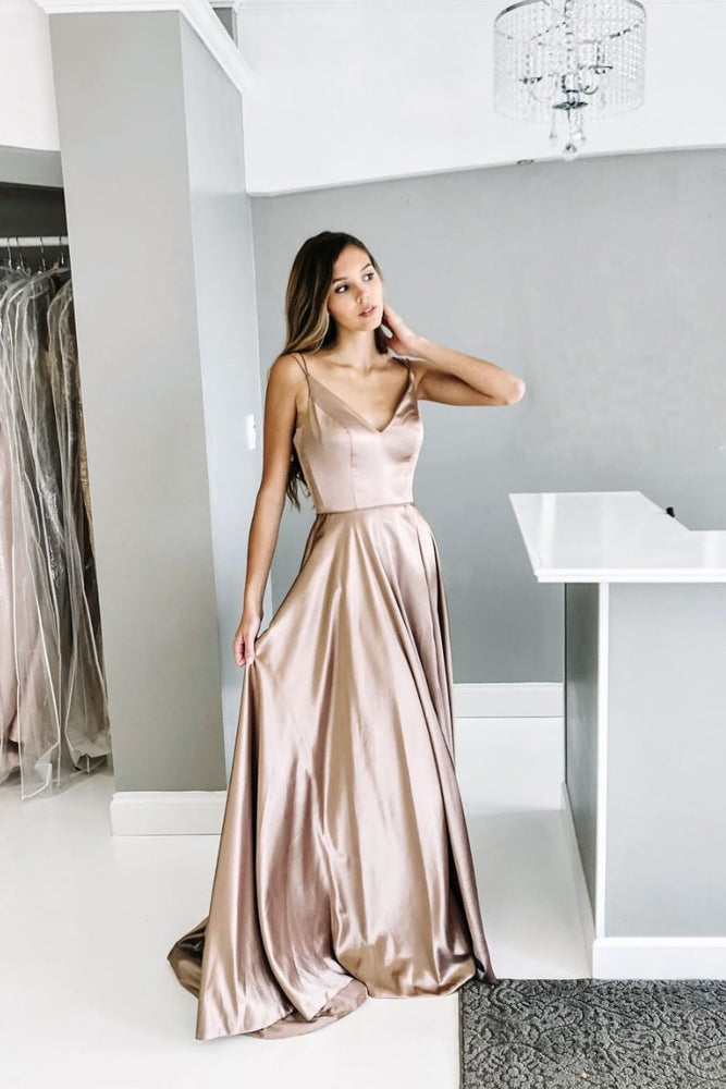 Champagne satin long prom dress, champagne evening dress