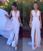 White Backless Chiffon Long Prom Dress, Evening Dress