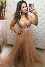 Champagne v neck tulle sequin long prom dress champagne evening dress