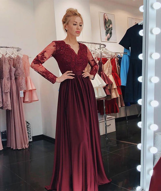 Burgundy v neck lace long prom dress, burgundy bridesmaid dress
