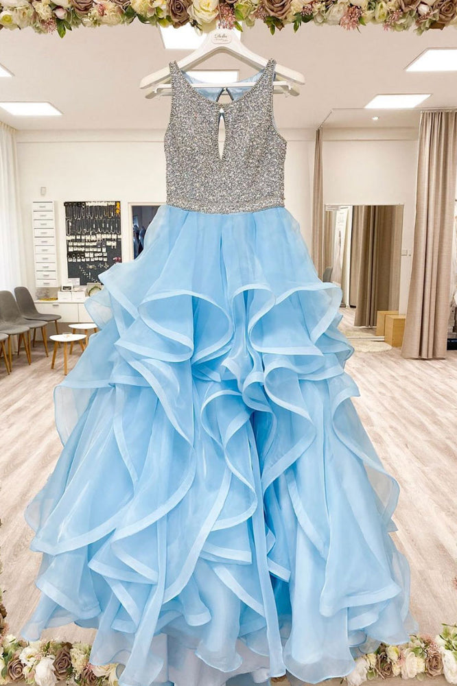 Blue round neck tulle sequin long prom dress blue tulle formal dress