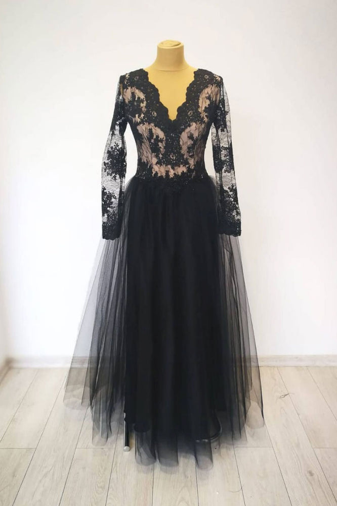Black v neck lace tulle long evening dress black lace prom dress