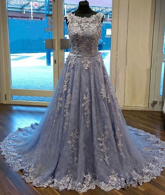 Unique round neck lace tulle long prom dress, lace evening dress - shdress