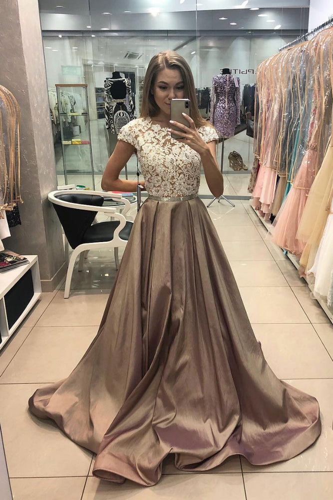 Champagne satin lace long prom dress, champagne evening dress