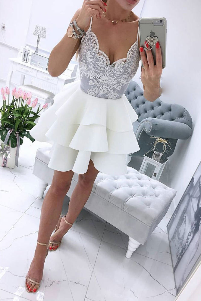White v neck lace short prom dress, white homecoming dress