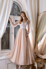 Champagne v neck tulle lace long prom dress tulle evening dress