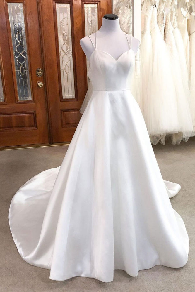 Simple white v neck satin long wedding dress white bridal dress