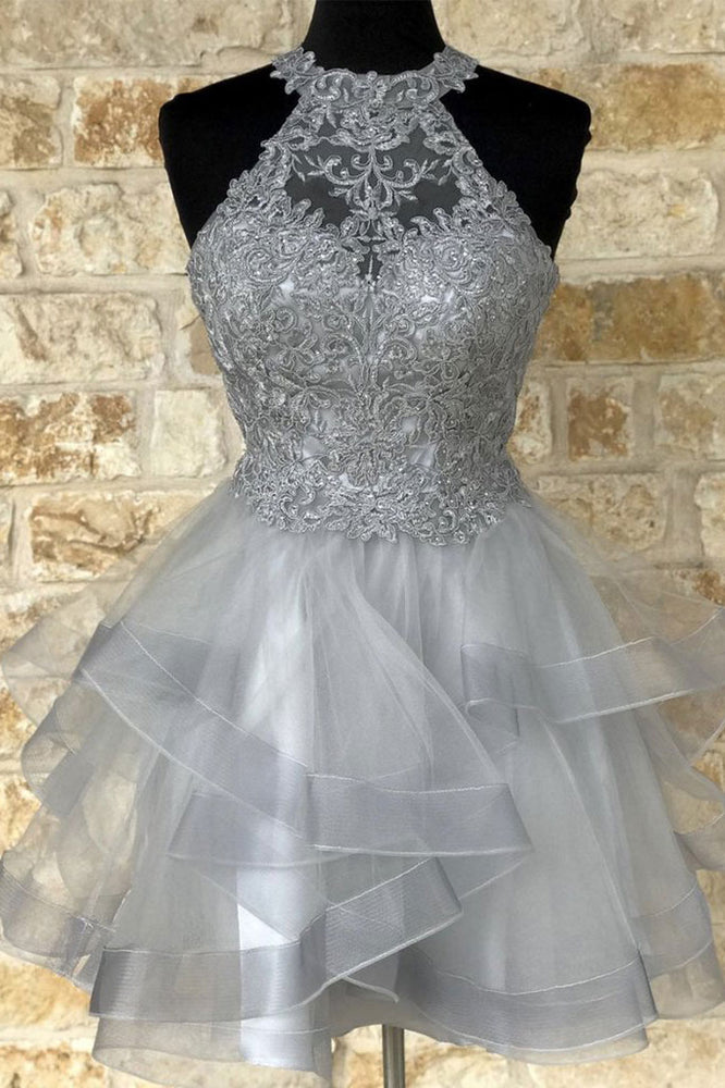 Gray tulle lace high neck short prom dress gray homecoming dress
