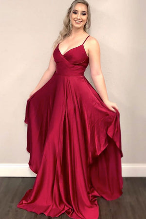 Simple burgundy satin long evening dress long bridesmaid dress