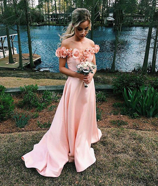 Pink sweetheart long prom dress, pink evening dress