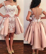 Pink lace short prom dress, pink homecoming dress