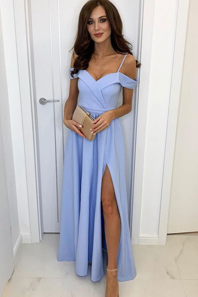 Simple blue long prom dress, blue evening dress