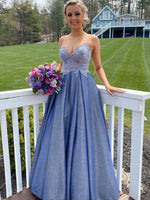 Blue sweetheart neck lace long prom dress lace blue bridesmaid dress