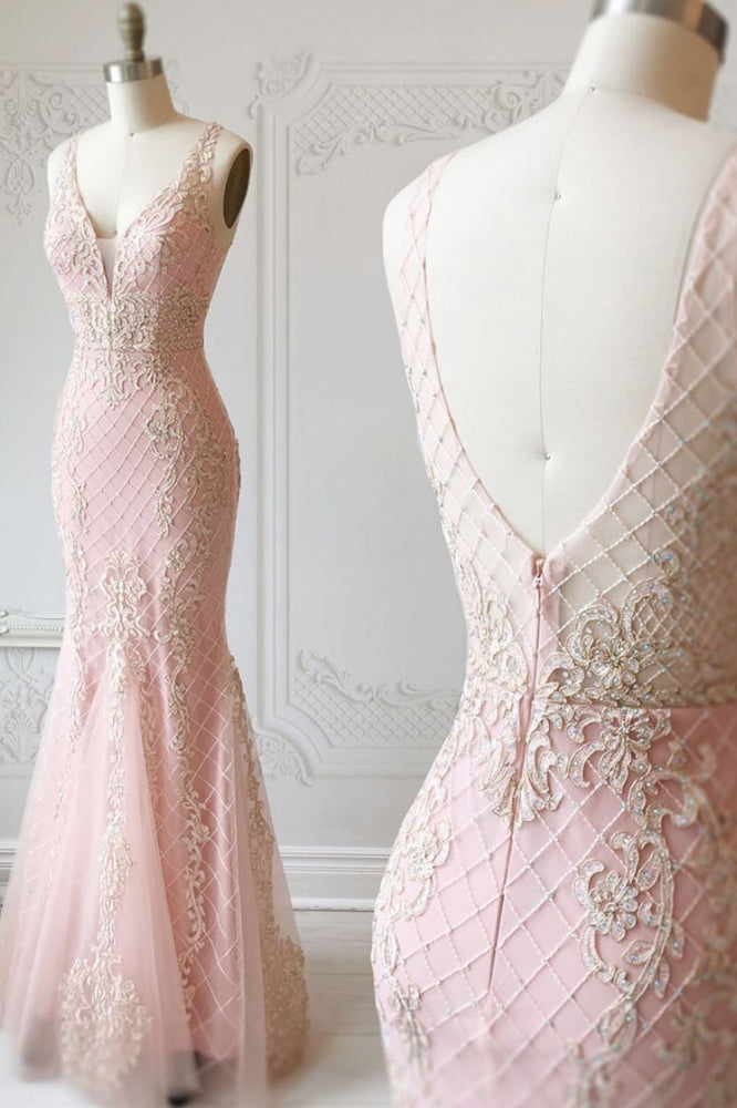 Pink v neck tulle lace mermaid long prom dress, pink evening dress