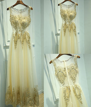 Unique round neck lace tulle long prom dress, evening dress - shdress