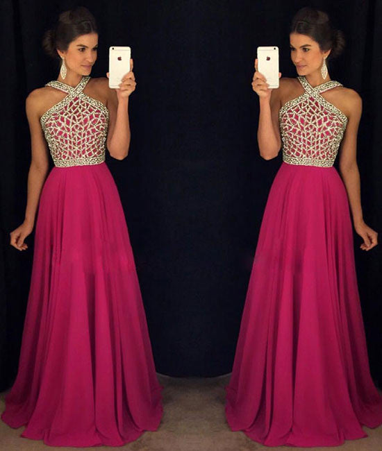 Rose red beaded long prom dress for teens, rose red formal dress