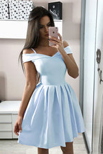 Blue off shoulder satin short prom dress blue cocktail dress