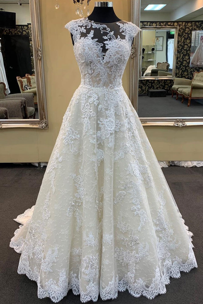 Unique champagne lace long prom dress, champagne evening dress