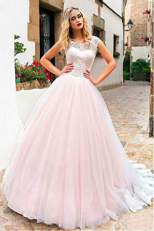 Pink round neck tulle lace long prom dress pink evening dress