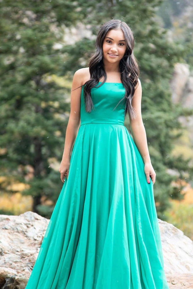 Simple green chiffon long prom dress green formal dress
