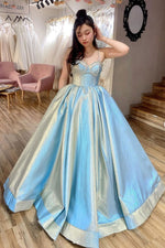 Blue sweetheart satin long prom dress blue sweet 16 dress