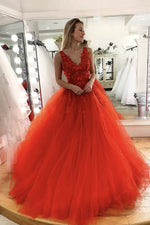 Orange v neck tulle lace long prom dress tulle sweet 16 dress