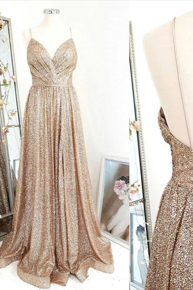 Gold sequin long prom dress gold evening dress