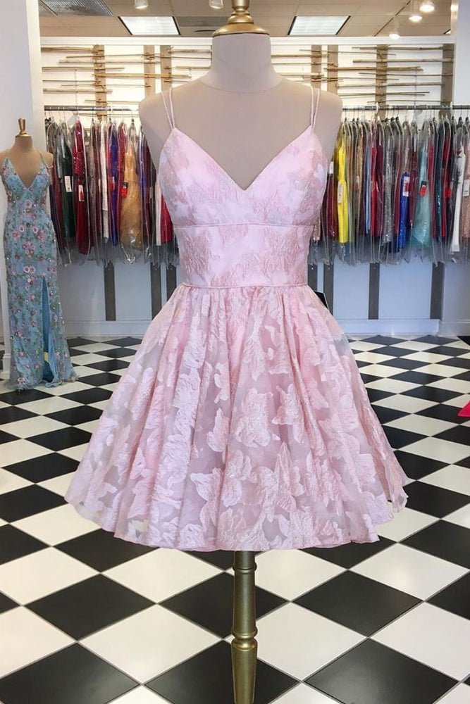 Pink v neck lace short prom dress, pink lace homecoming dress