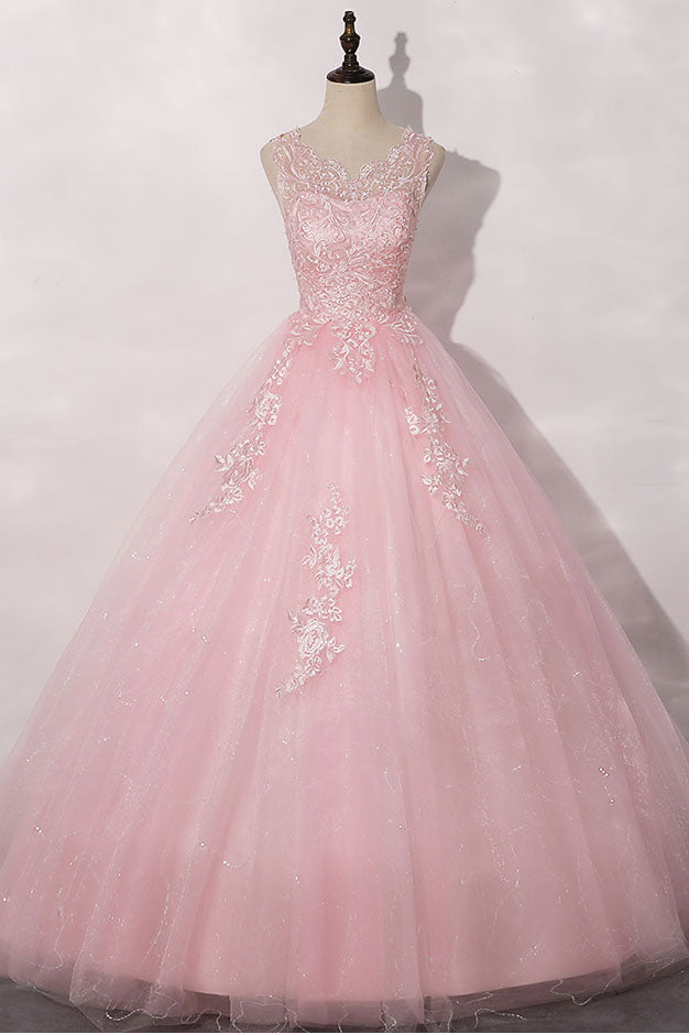 Pink round neck tulle lace long prom dress pink tulle formal dress