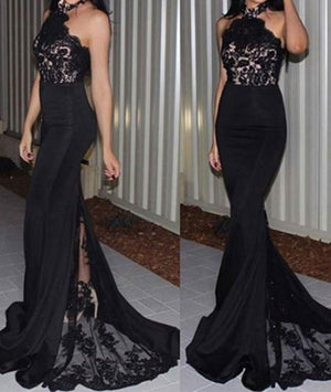 Unique black lace long prom dress, bridesmaid dresses - shdress