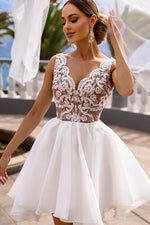 White v neck lace tulle short prom dress white lace cocktail dress