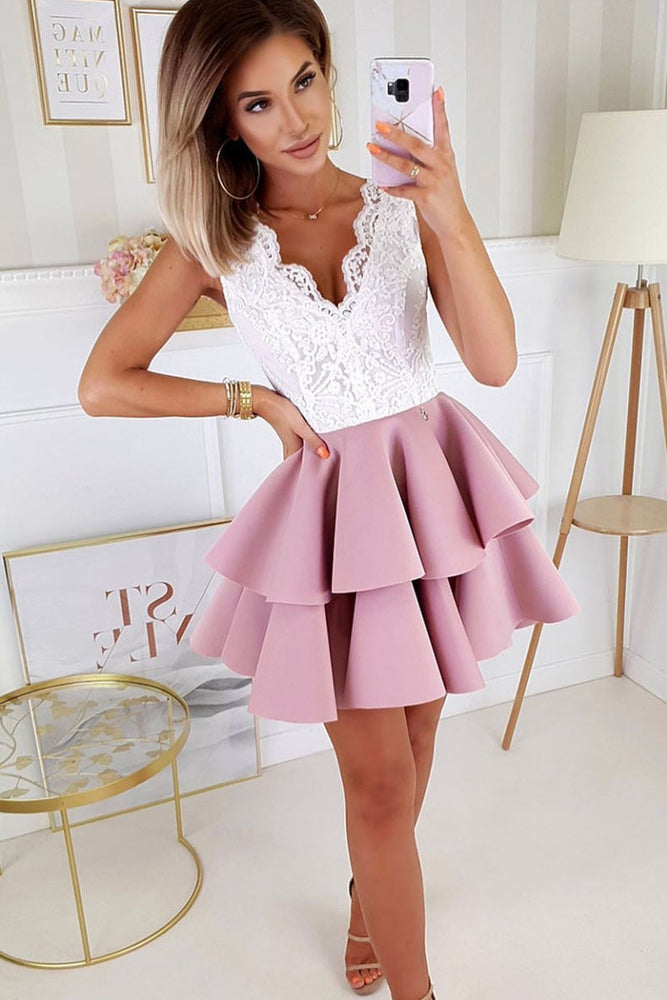Pink v neck lace satin short prom dress pink lace homecoming dress