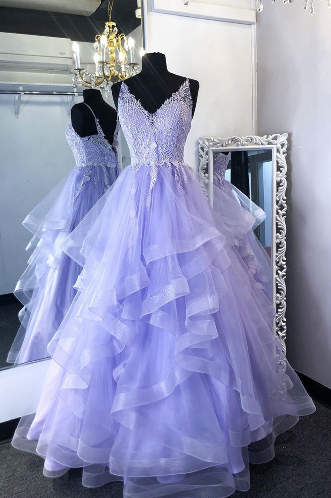 Purpler v neck tulle lace beads long prom dress tulle formal dress