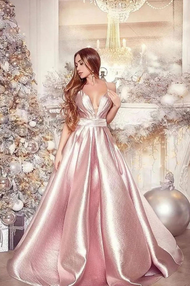Simple v neck pink satin long prom dress pink evening dress