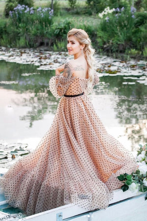 Champagne sweetheart off shoulder tulle long prom dress