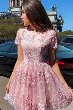 Pink tulle lace short prom dress pink homecoming dress