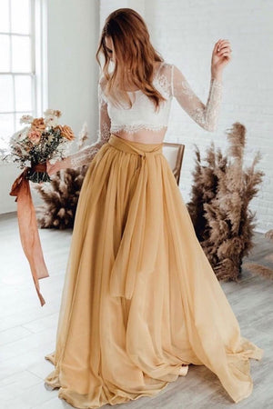 Champagne tulle lace long prom dress champagne evening dress