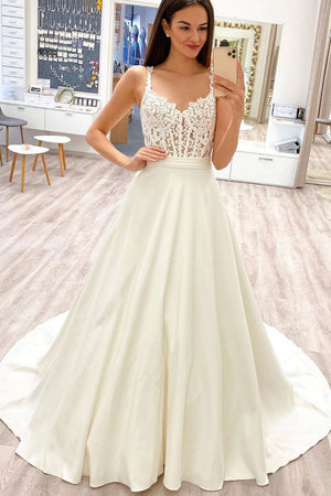 White sweetheart lace satin long prom dress white lace evening dress
