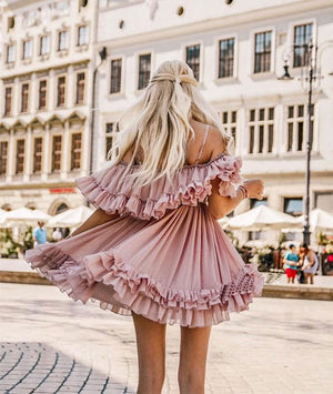 Cute chiffon pink short prom dress, pink homecoming dress - shdress