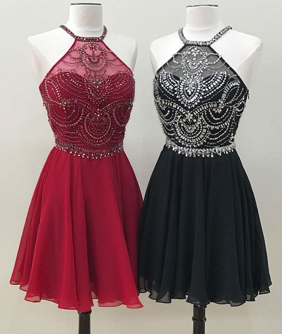 Unique beads chiffon short prom dress, homecoming dress - shdress
