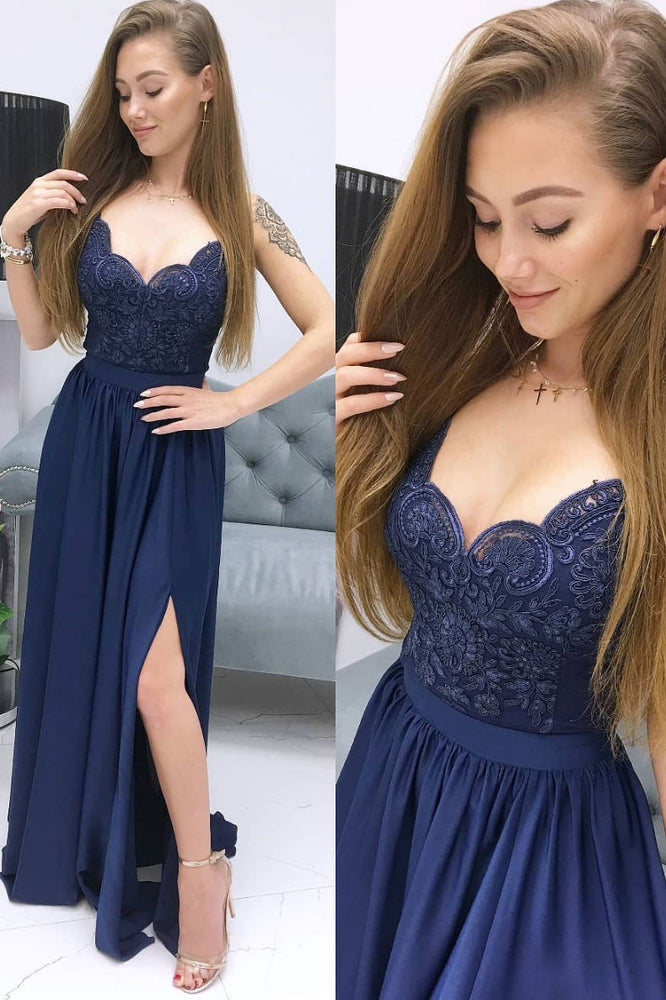 Blue sweetheart lace chiffon long prom dress blue lace evening dress