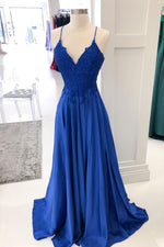 Royal blue lace satin long prom dress blue formal dress