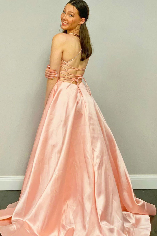 Simple pink v neck satin long prom dress pink evening dress